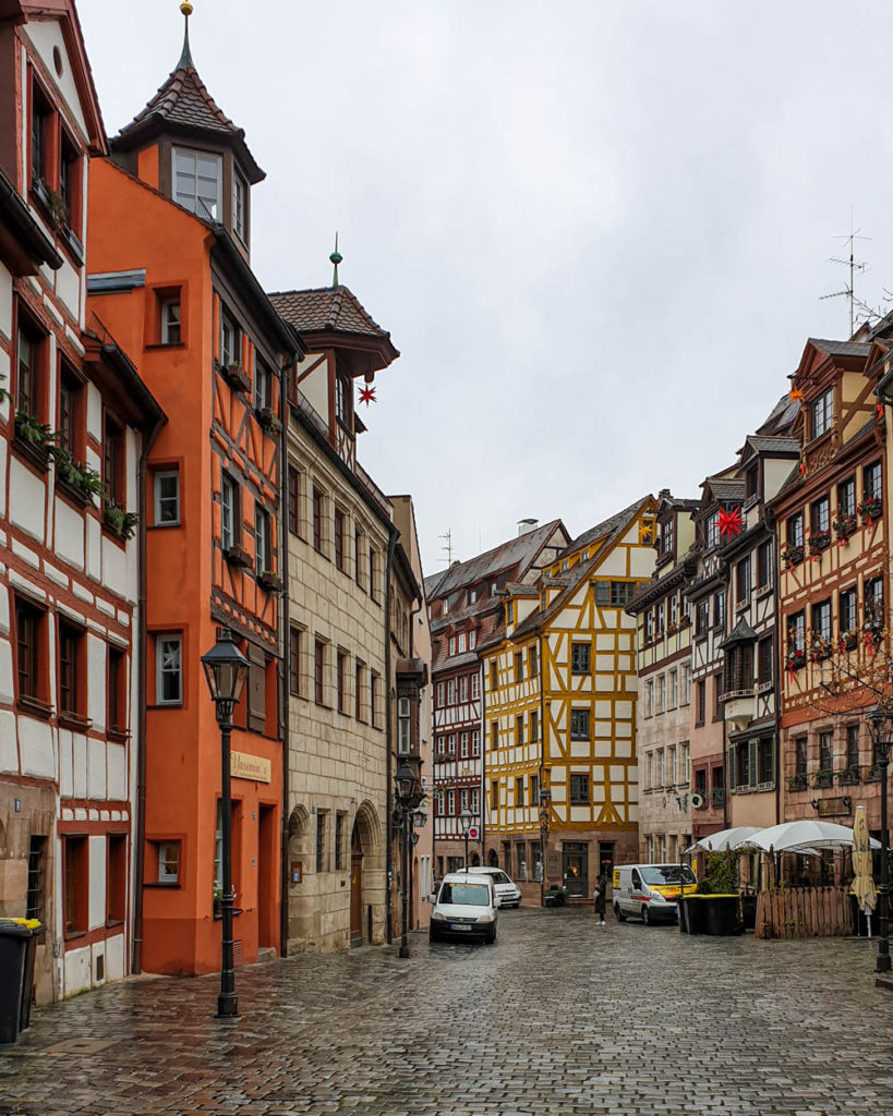 View of a cobbledstone street in Bavaria on a rainy day