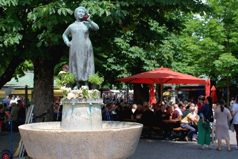 Fountain by a beer garden in Munich, Germany