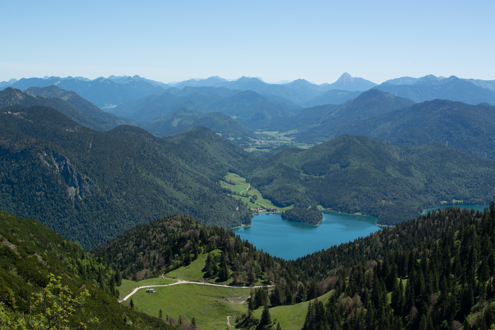 VIew of lake Walchensee from the Herzogstand summit