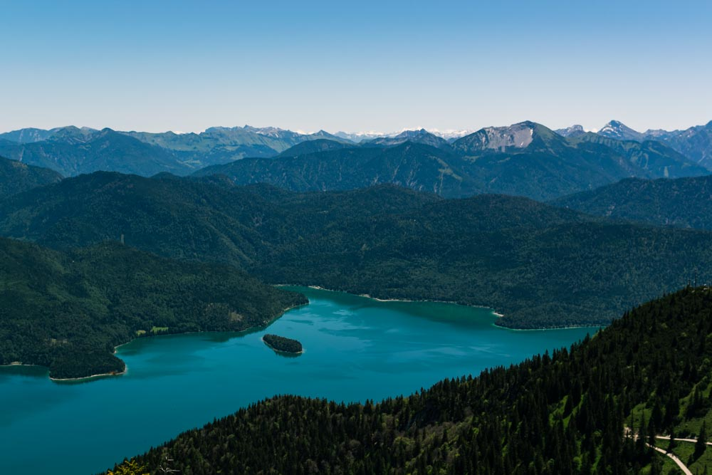 View of a lake while hiking in Bavaria
