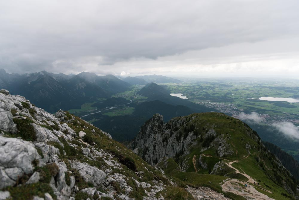 Hiking in Bavaria: View from the top of a mountain