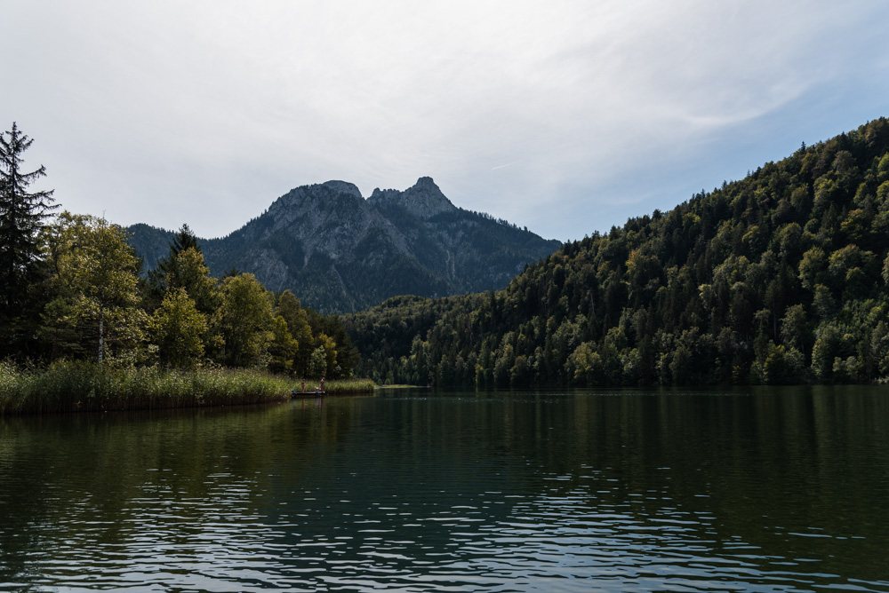 Schwansee (Swan lake) with a mountain in the background
